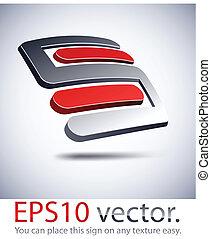 """icon., moderní, emblém, """"s"""", 3"""