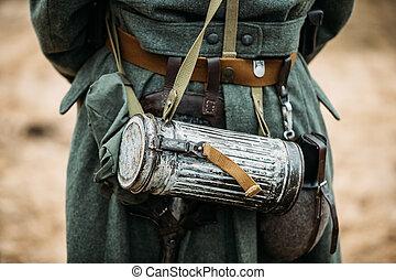 ii., plyn, wehrmacht, vybavení, němec, voják, válka, vitrína, společnost, anti-gas, válečný, nebo, maskovat, soldier's, skladiště, pěchota