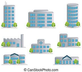 ikona, dát, budova