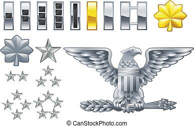 ikona, luklý, americký, insignie, důstojník, vojsko