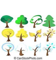 ikona, odbobí, čtyři, strom
