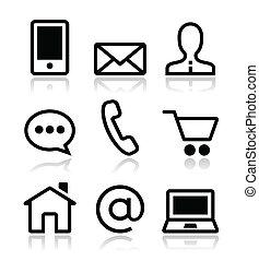 ikona, pavučina, dát, styk, vektor