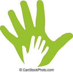 ikona, ruce, dospělý, rodina, kůzle