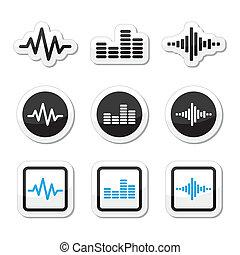 ikona, soundwave, hudba, dát, vektor