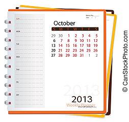 illustration., october., vektor, diář, kalendář, 2013