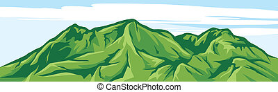 Ilustrace horské krajiny