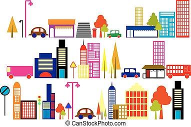 ilustrace, město, vektor