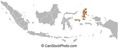 indonésie, mapa, -, sever, maluku