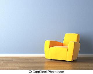 Interior navrhoval žlutou židli na modré zdi