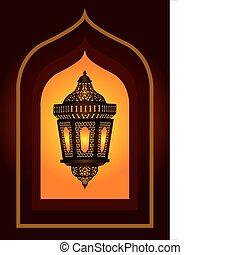 Intriká arabská lampa pro eid nebo