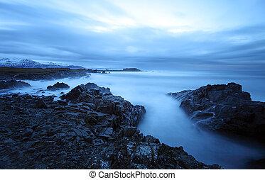 island, klidný, východ, jih, moře
