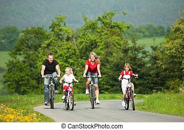 jízdní, bicycles, rodina