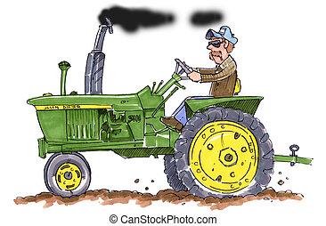 jan, jelen, traktor