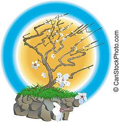 japonština, ilustrace, strom
