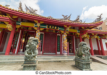 japonsko, confucian, nagasaki, chrám