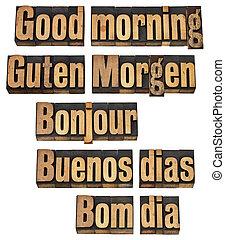 jazyky, dobro, pět, ráno