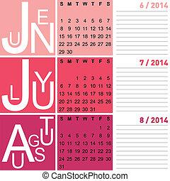 Jazzy sezónní kalendář v létě 2002, včetně june, jugust, vektoru