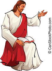 ježíš, sedění, názor, kristus, stěna