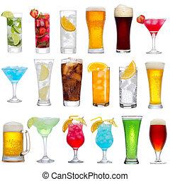 Je tu spousta různých nápojů, koktejlů a piva