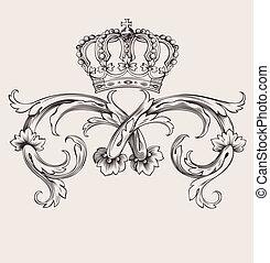 Jedna barevná královská královská korunka