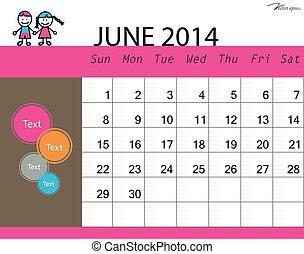 Jednoduchý kalendář, june. Vektorová ilustrace.