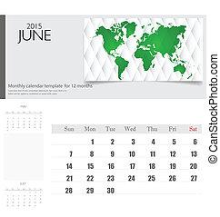 Jednoduchý kalendář v roce 2015. Vektorová ilustrace.