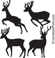 jelen, neposkvrněný, silueta, grafické pozadí