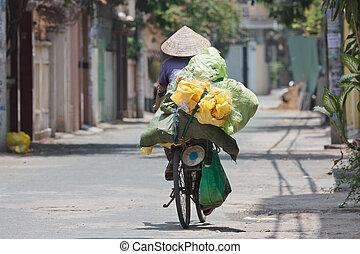 jezdit na kole, manželka, vietnam