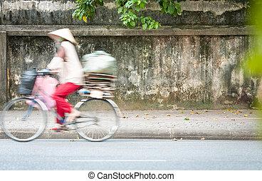 jezdit na kole, osoba, asia., vietnam, jízdní, cesta