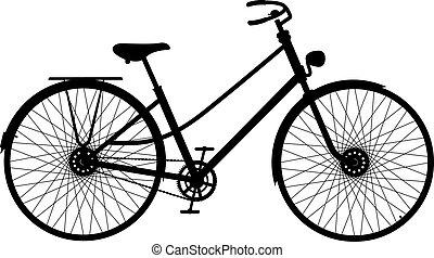 jezdit na kole, silueta, za