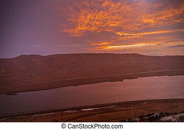 jezero, čas, večer, hora., azerbaijan., clouds., baku, překrásný, prasknout opětně, rána, mračno