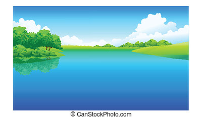 Jezero a zelená krajina