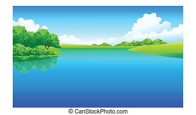 jezero, krajina, nezkušený
