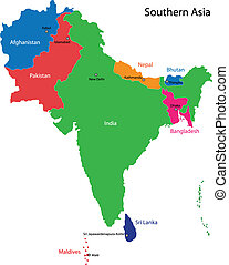 jižní, mapa, asie