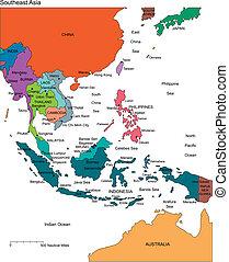 Jihozápadní Asia s editovanými státy, jménami