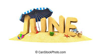 June - slovo písku. Ilustrace 3D