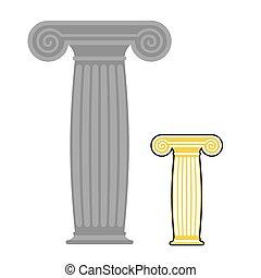 kámen, column., místo, řečtina, dávný, starobylý, silný, vektor, illustration.