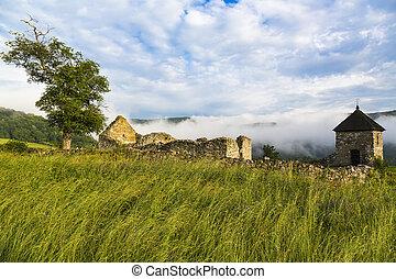 kámen, dávný, forma, opevnění, hussite, pozadu, hradby, lucka, watchtower, troska