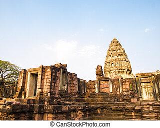 kámen, starobylý, thailand., phimai, věž