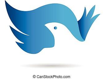 křídla, vektor, emblém, bue, ptáček, ikona