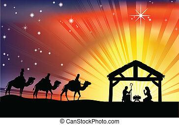 Křesťanská scéna nativity