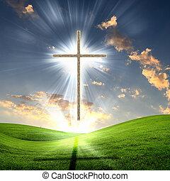 Křesťanský kříž proti obloze