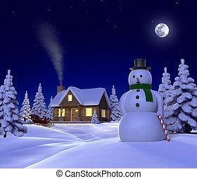 Křestní sněžný muž, sněžný muž, sněžný muž, sněžný v noci