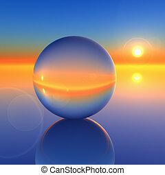 křišťál, abstraktní, koule, budoucí, obzor