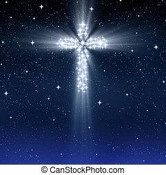 Křižovatý náboženský kříž ve hvězdách