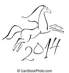 kůň, čerň, běloba grafické pozadí, kontura