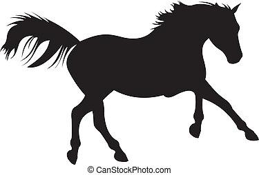 kůň, vektor, silueta