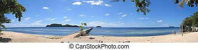 kadidiri, indonésie, togians, ostrov, pulau, panoráma, velký, pláž, sulawesi