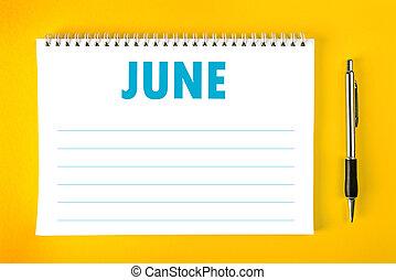 kalendář, červen, stránka, čistý
