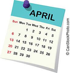 Kalendář pro duben.